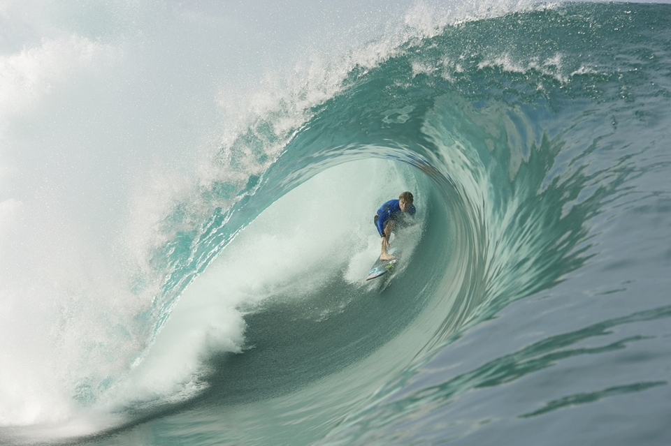 Mark Healey pushing his regular shortboard to the limit.