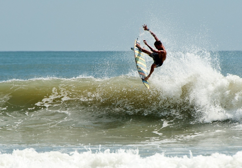 Brent Lamprecht was blowing up and surfing with authority hucking airs like this under the midday sun.