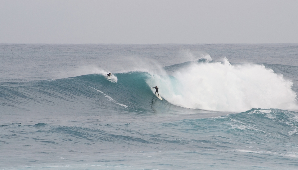 December 2, 2013. This spot only comes to life a few times a year, and it inspires fear in even the bravest surfers in the Mediterranean. Only four guys were in the water on this day. Here local surfer