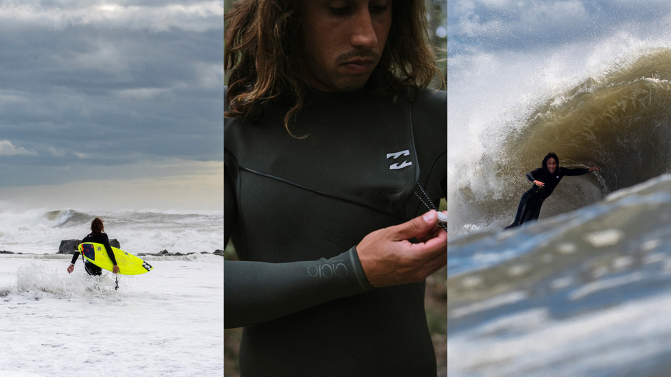 Who knows that wintry Nor'easter wetsuit life? Surfers from the Nor'east, of course. Jersey's Rob Kelly, getting pitted at home after a walk through a snow-covered shore.