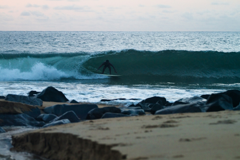 Alfred Lomaz is famous as Liberia's first surfer. He found a bodyboard amongst an aid hand out during the civil war and has been gliding Liberia's shapely lefts ever since.