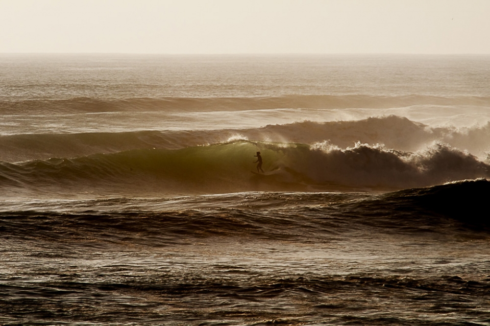 The last of the light, and his last wave. He was certainly savouring every moment of it before the mayhem to come.