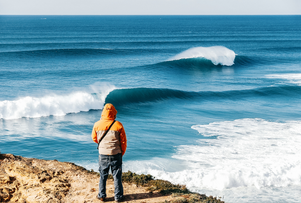 More from Boxing Day, 2006. Lonely watcher observes the power of Nazare.