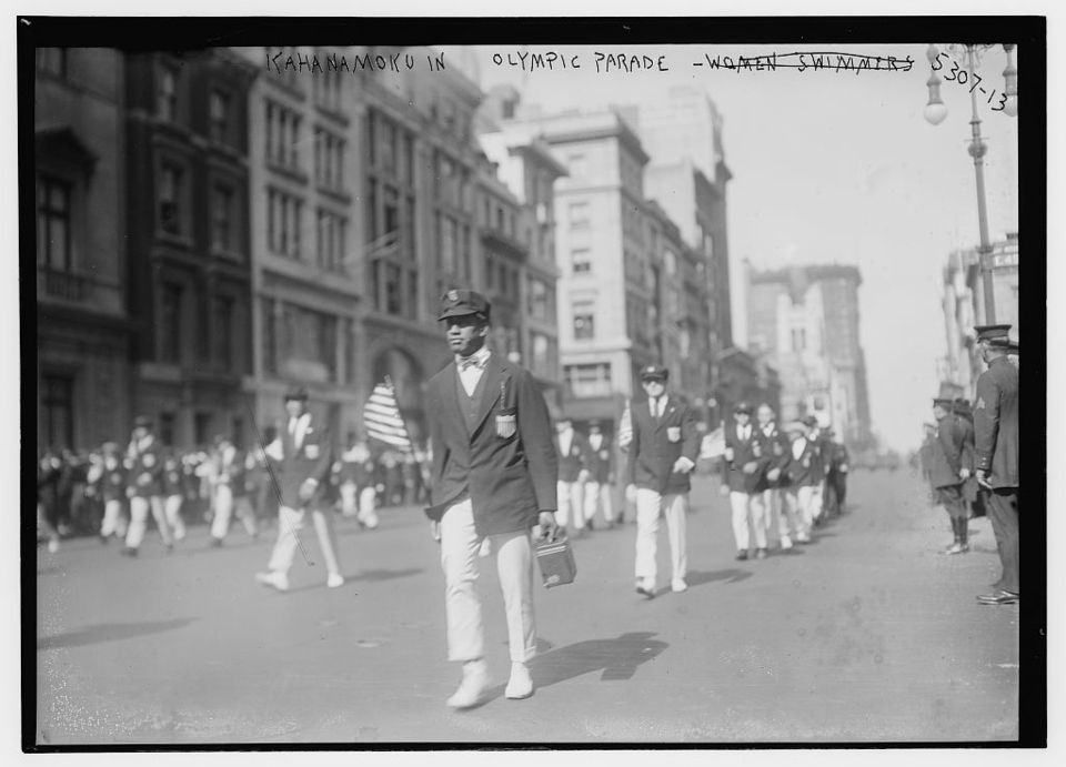 New York City, 1912. Duke marches through the streets with fellow Olympians on their way to Stockholm, where Duke would win gold.