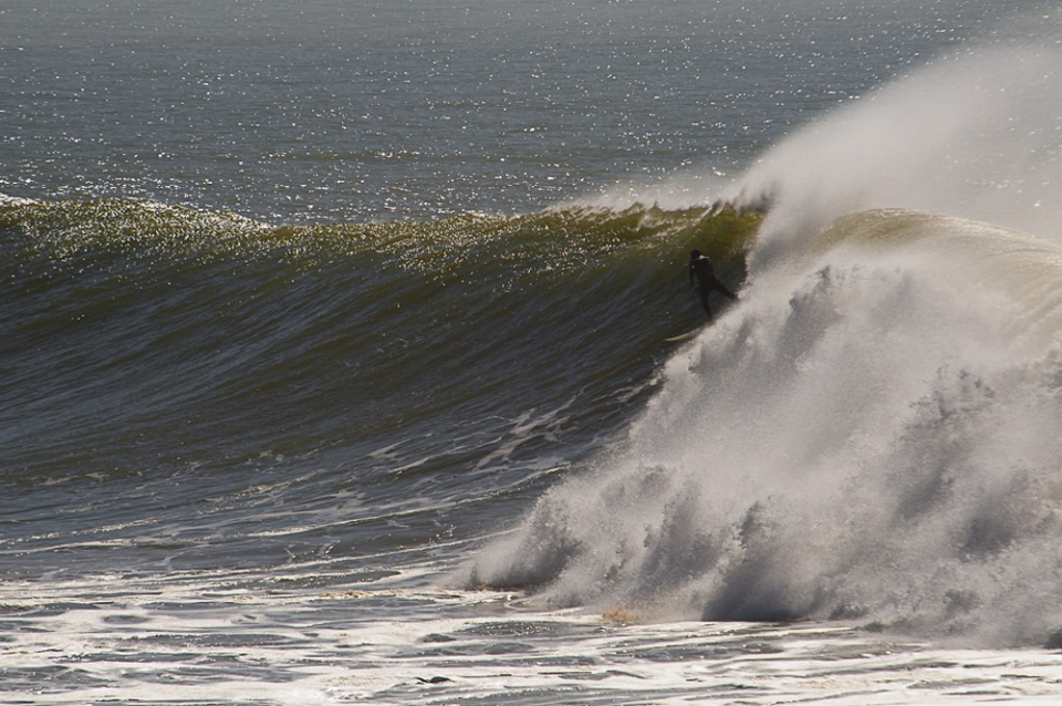 People argue what is needed to surf big surf; Kahuna's, balls, experience and self belief are all words that will have been banded around in conversation. What amazes me though is how relaxed the guys and girls are. If I were to be chased by a pack of wolves, an avalanche or a few thousand cubic tons of water, my brain would tell me to run, that fighting is no option and off I would go. These individuals though have the ability to slow everything down, to assess what lays ahead and most definitely behind, stay calm and then turn themselves back into the pit of ferocity and go again. Here Yassine shows that trait with a turn back into the pocket.
