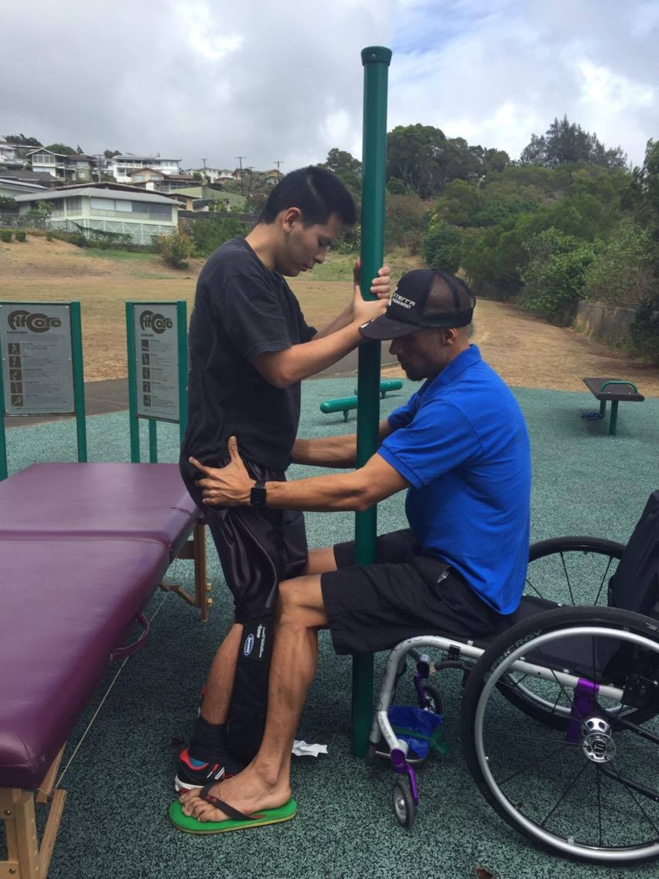 Sergio assisting Mycah as part of his therapy.