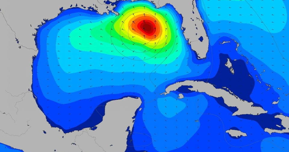 Swell chart shows Michael slamming into the Florida Panhandle, the fetch reaching further west towards Texas.