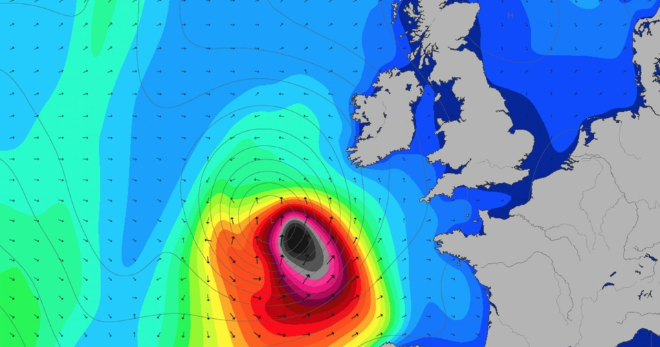 Remember Ophelia, steaming into the UK? That black blob is responsible for the best surf Ireland's east coast has ever seen. Remember, keep an eye on the charts by going HERE.
