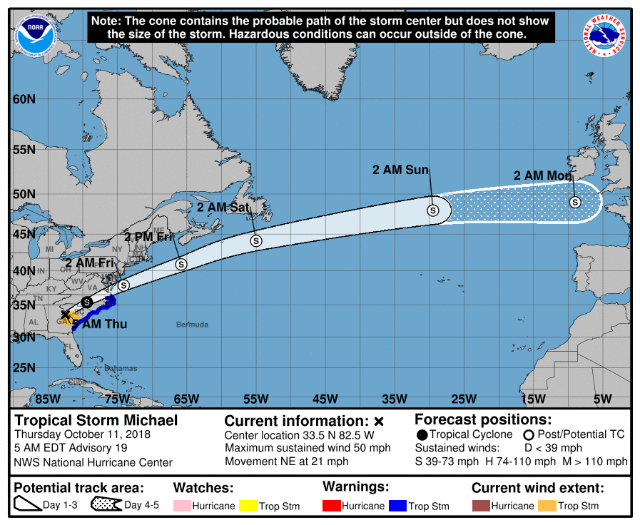 Michael's current projected path.