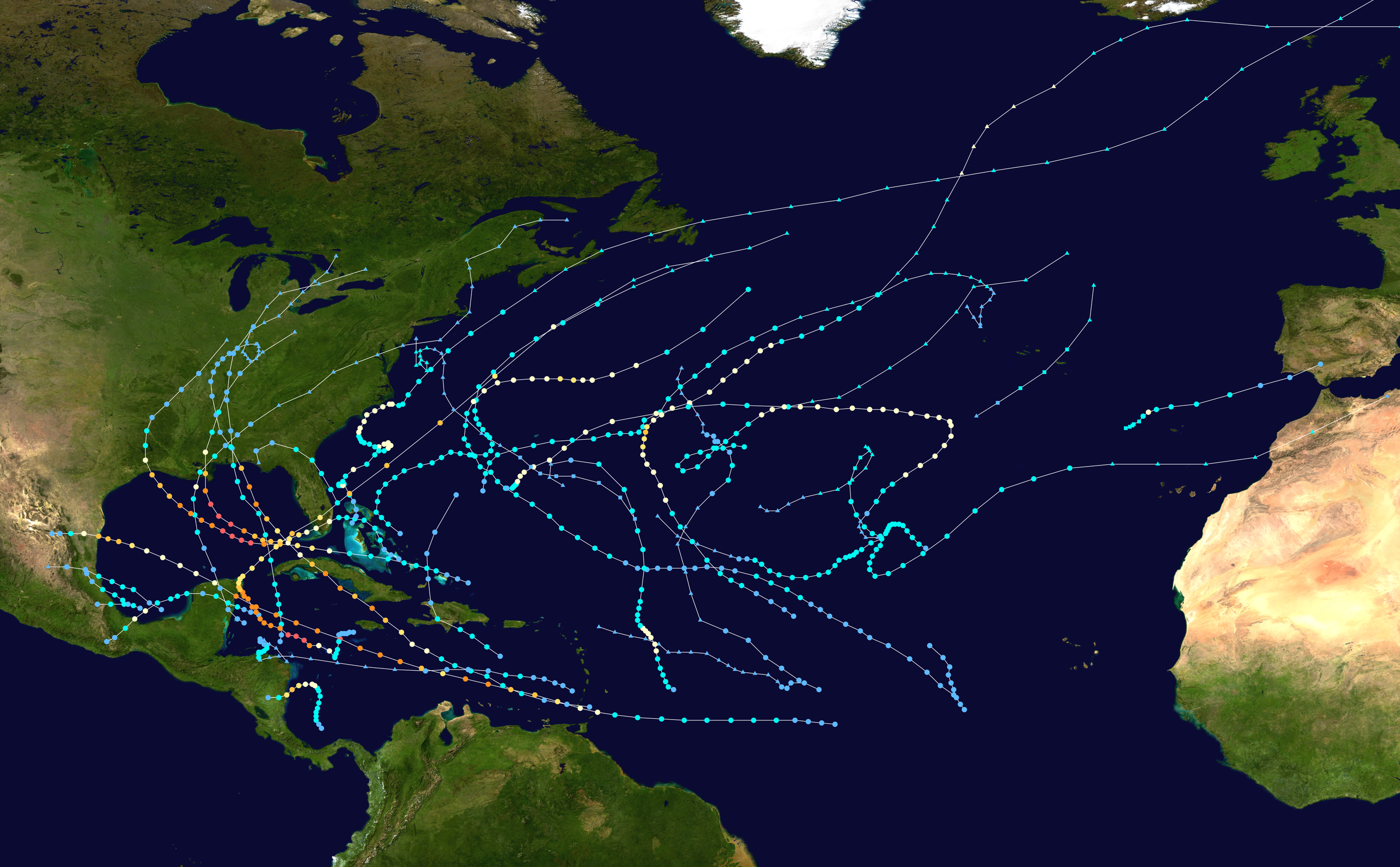 Here's a map of the Atlantic Hurricane summary from 2005.