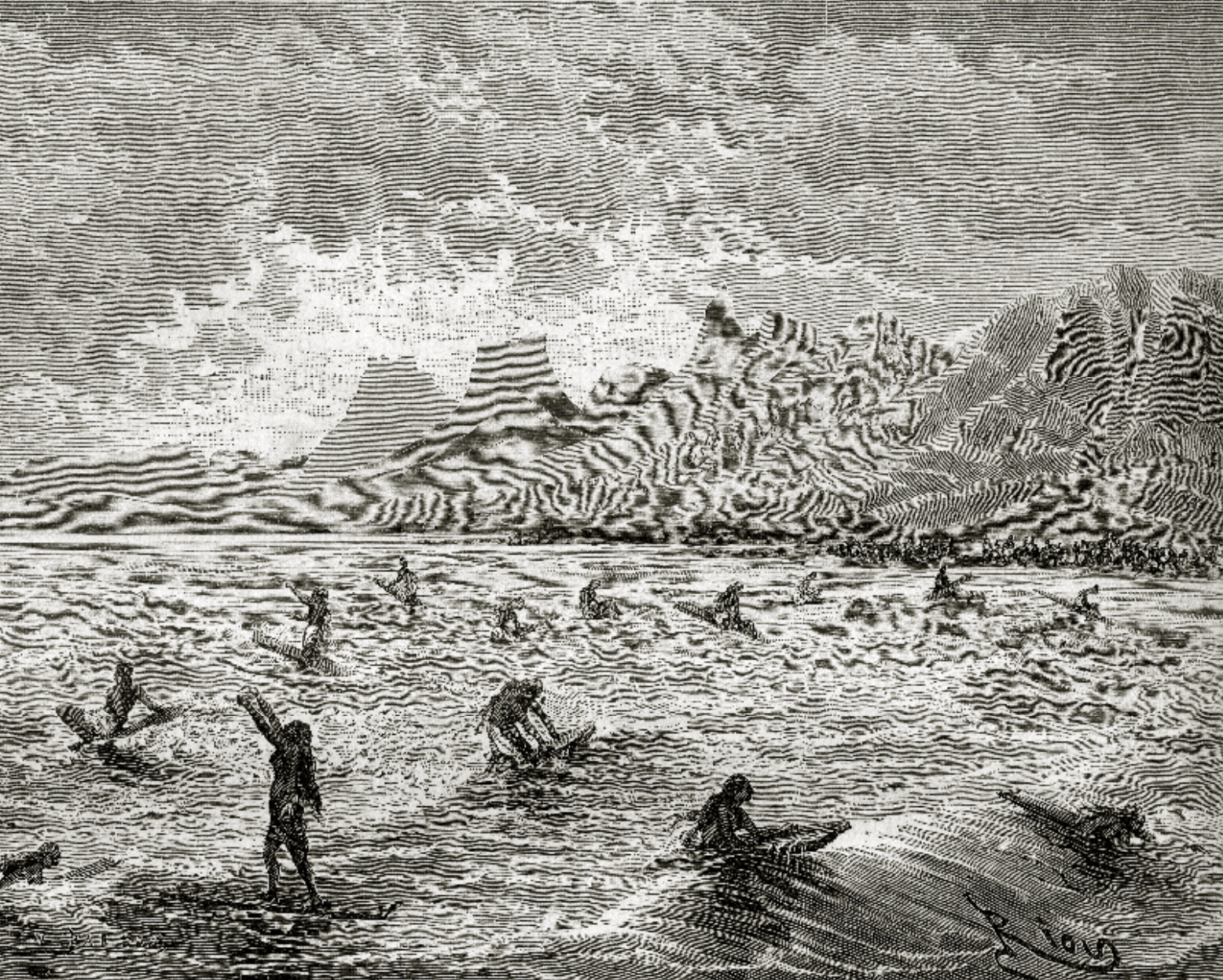 Jeux havaiens, or, Hawaiians playing, depicting women surfing from around 1873.