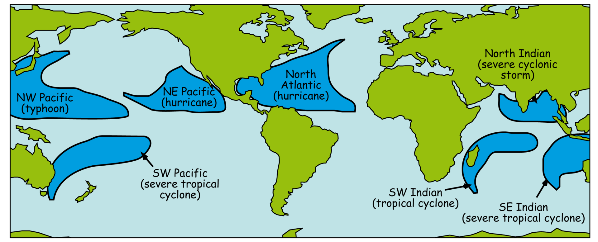 Different regions of the world refer to hurricanes in different ways. They're the same, whether a typhoon or cyclone.